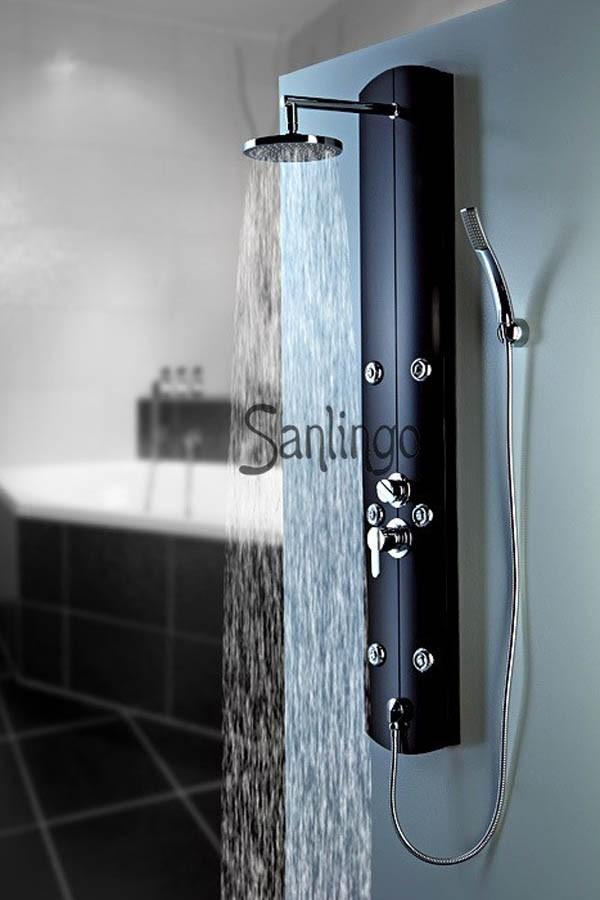 sanlingo noir colonne de douche aluminium hyddromassante. Black Bedroom Furniture Sets. Home Design Ideas