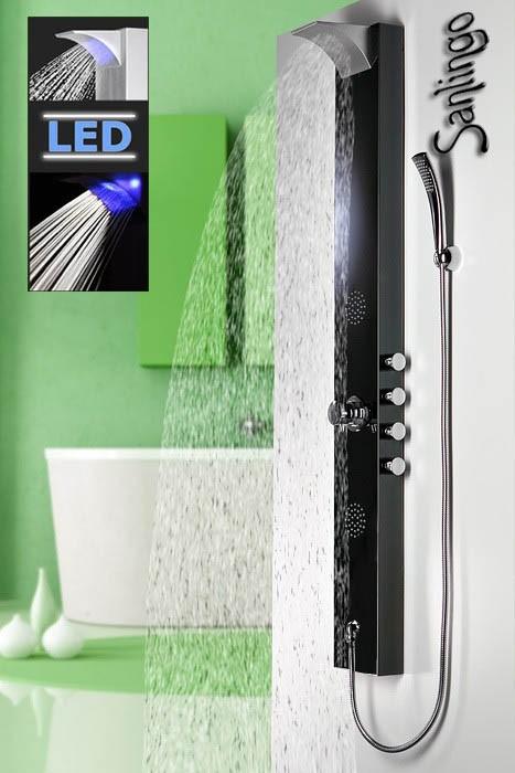 Noir sanlingo led colonne de douche acier inoxydable cascade - Colonne de douche a led ...