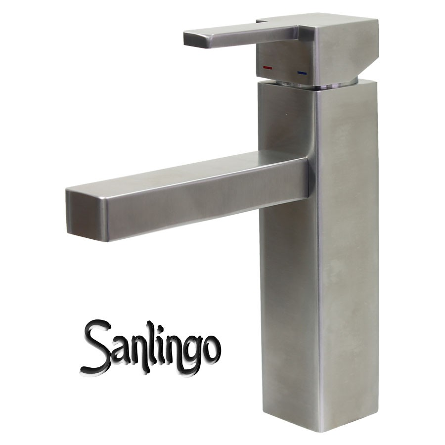 sanlingo design badezimmer waschbecken waschtisch bad armatur aus 100 edelstahl ebay. Black Bedroom Furniture Sets. Home Design Ideas