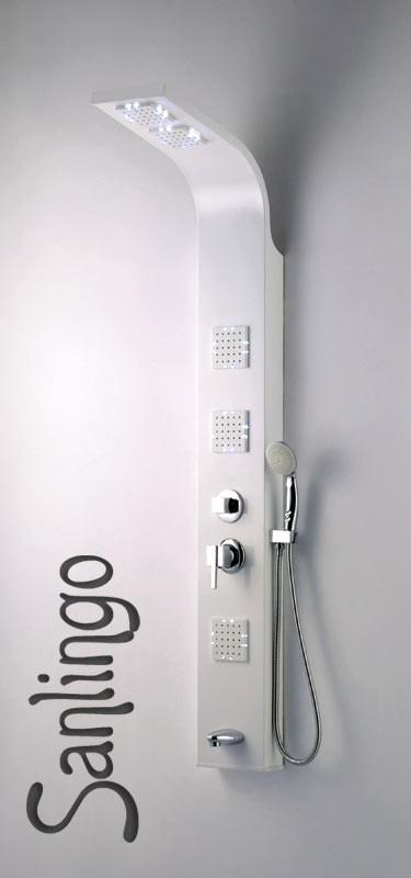 led aluminium colonne de douche massage blanc baignoire bec sanlingo ebay. Black Bedroom Furniture Sets. Home Design Ideas