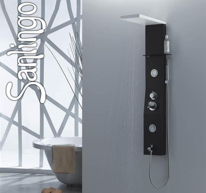 noir colonne de douche aluminium blanc pommeau de douche massage sanlingo ebay. Black Bedroom Furniture Sets. Home Design Ideas