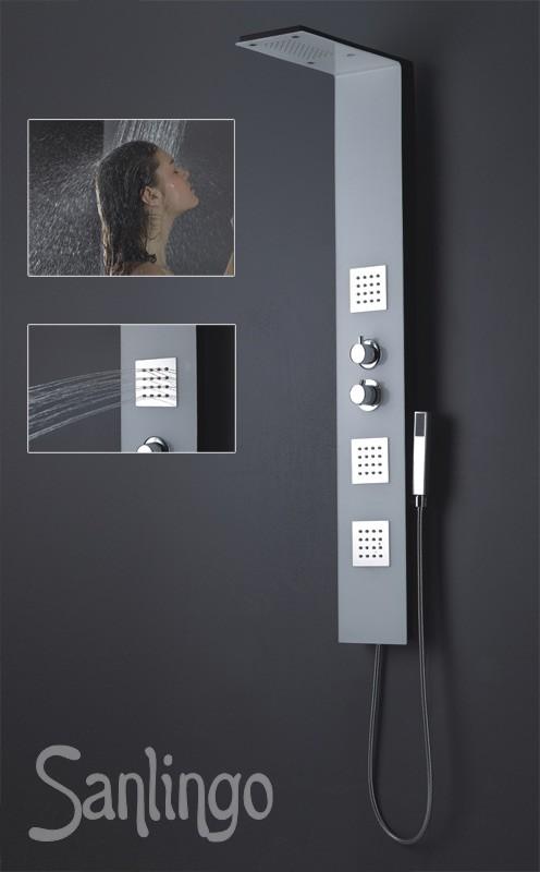 noir blanc colonne de douche aluminium massage pommeau de douche sanlingo. Black Bedroom Furniture Sets. Home Design Ideas