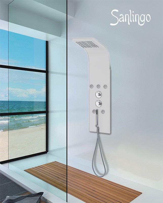 Sanlingo blanc colonne de douche aluminium hydromassant ebay - Colonne de douche sanlingo ...