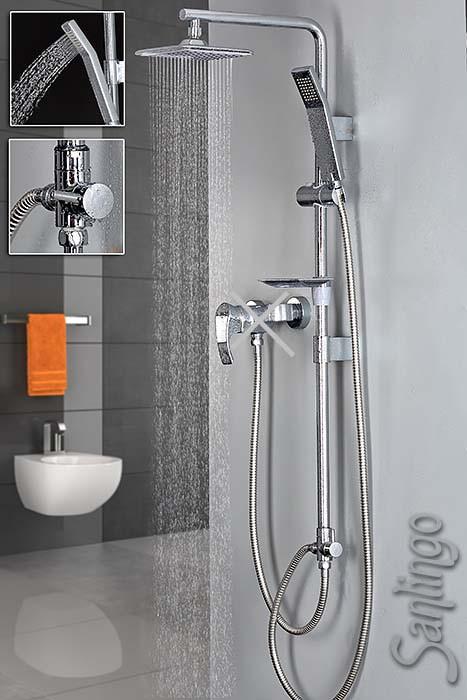 design set de douche douche de t te douchette effet barre douche pluie chrome ebay. Black Bedroom Furniture Sets. Home Design Ideas