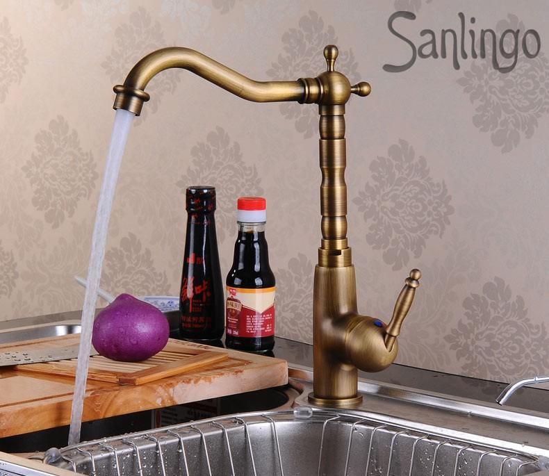 ... Spültisch Küche Einhebel Armatur Wasserhahn Antik Messing Sanlingo