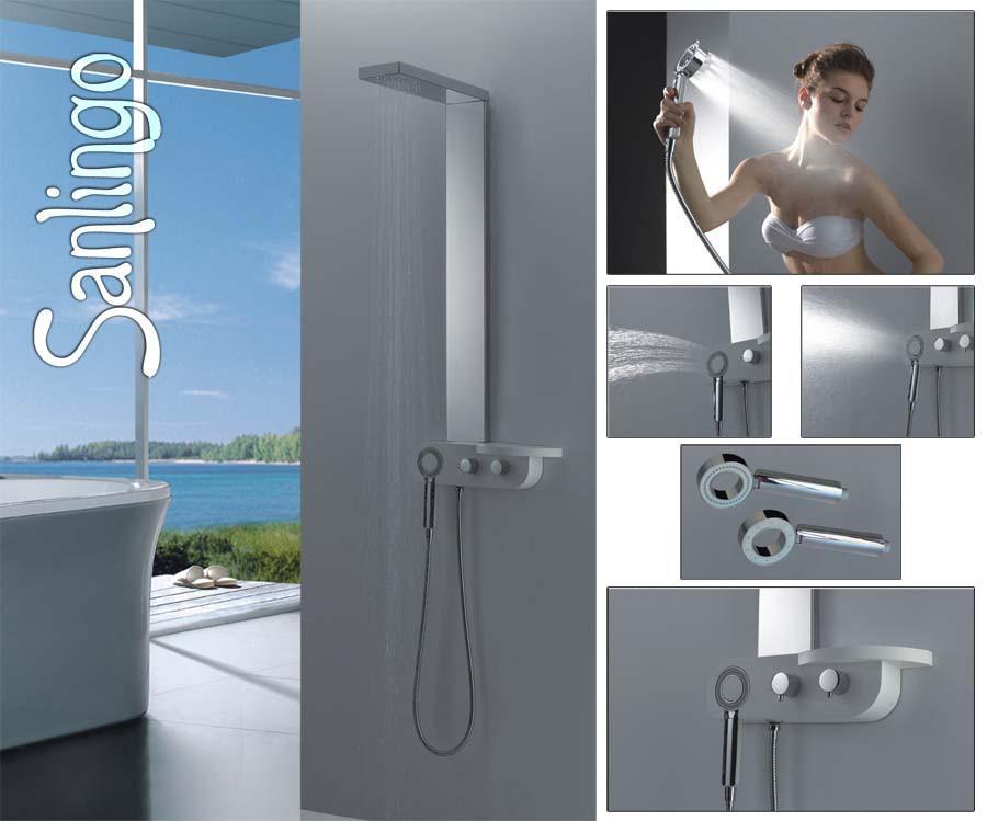acier inoxydable poli fin sanlingo colonne de douche pommeau de douche. Black Bedroom Furniture Sets. Home Design Ideas