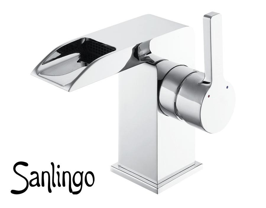 Moderno bagno lavabo miscelatore monocomando cromo - Rubinetto bagno cascata ...