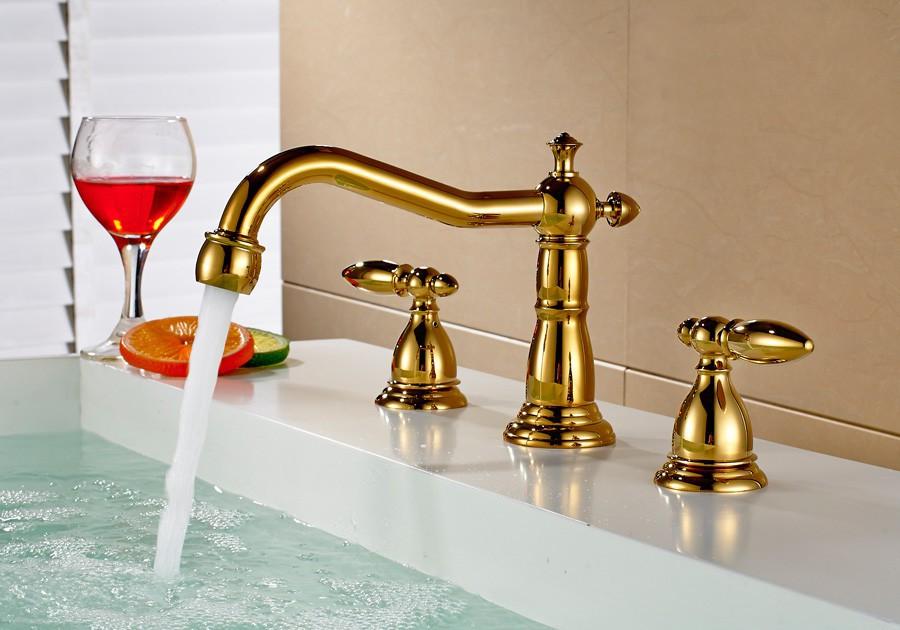 retro design armatur waschtisch waschbecken badewanne 3 loch gold ebay. Black Bedroom Furniture Sets. Home Design Ideas
