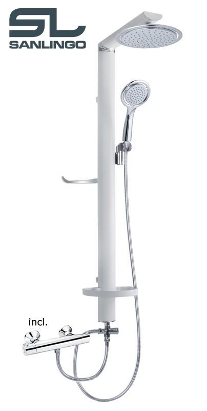 Alu duschpaneel regendusche thermostat armatur wei chrom for Thermostatarmatur dusche