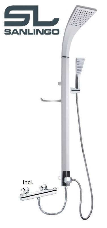 Mitigeur thermostatique aluminium colonne de douche blanc - Colonne de douche sanlingo ...