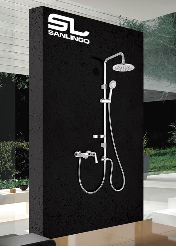 sanlingo duschset dusche handbrause regenbrause duschstange kopfbrause chrom ebay. Black Bedroom Furniture Sets. Home Design Ideas