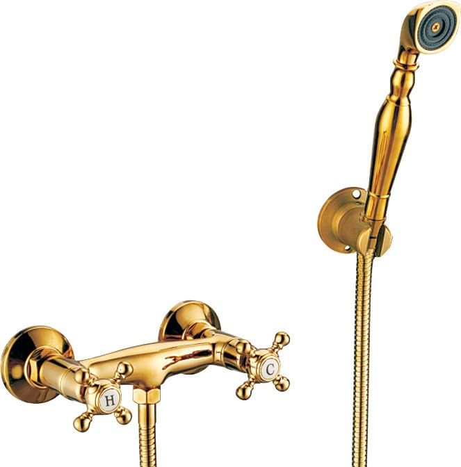 luxus dusche armatur nostalgie retro kreuzgriff sanlingo gold ebay. Black Bedroom Furniture Sets. Home Design Ideas