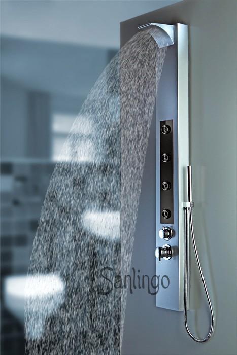 colonne de douche cascade alu hydromassante sanlingo ebay. Black Bedroom Furniture Sets. Home Design Ideas