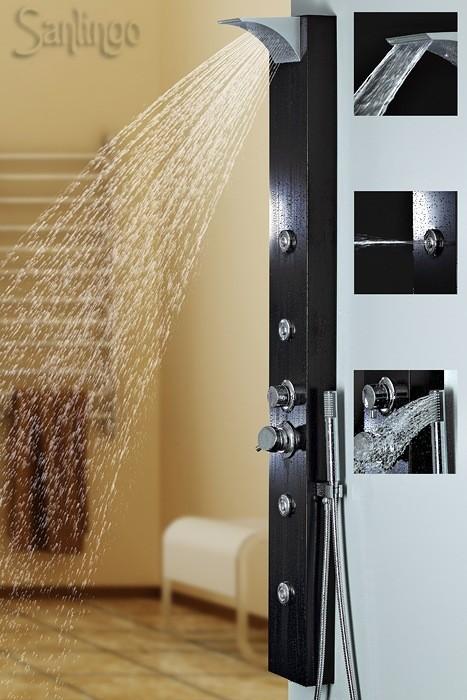 Noir aluminium colonne de douche cascade massage sanlingo ebay - Douche avec jet de massage ...