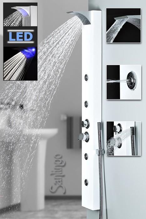 blanc aluminium led colonne de douche cascade massage. Black Bedroom Furniture Sets. Home Design Ideas