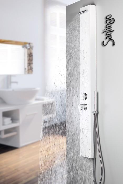 Blanc colonne de douche aluminium massage sanlingo ebay - Douche a jet massage ...
