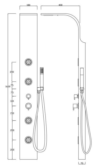 sanlingo colonne de douche aluminium pommeau de douche cascade ebay. Black Bedroom Furniture Sets. Home Design Ideas