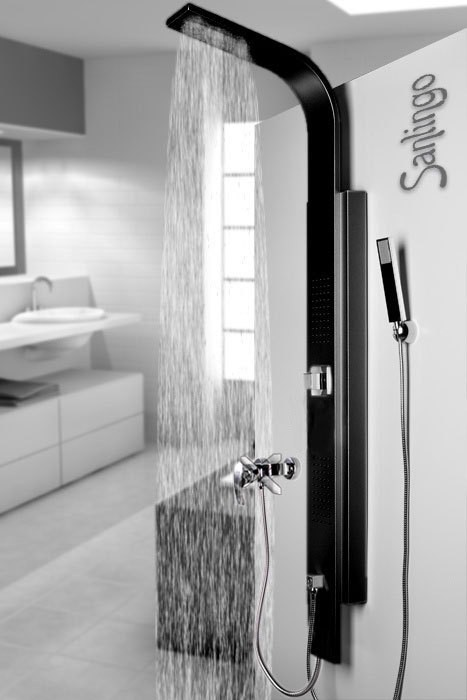 sanlingo colonne de douche noir aluminium pommeau de douche de pluie massage ebay. Black Bedroom Furniture Sets. Home Design Ideas