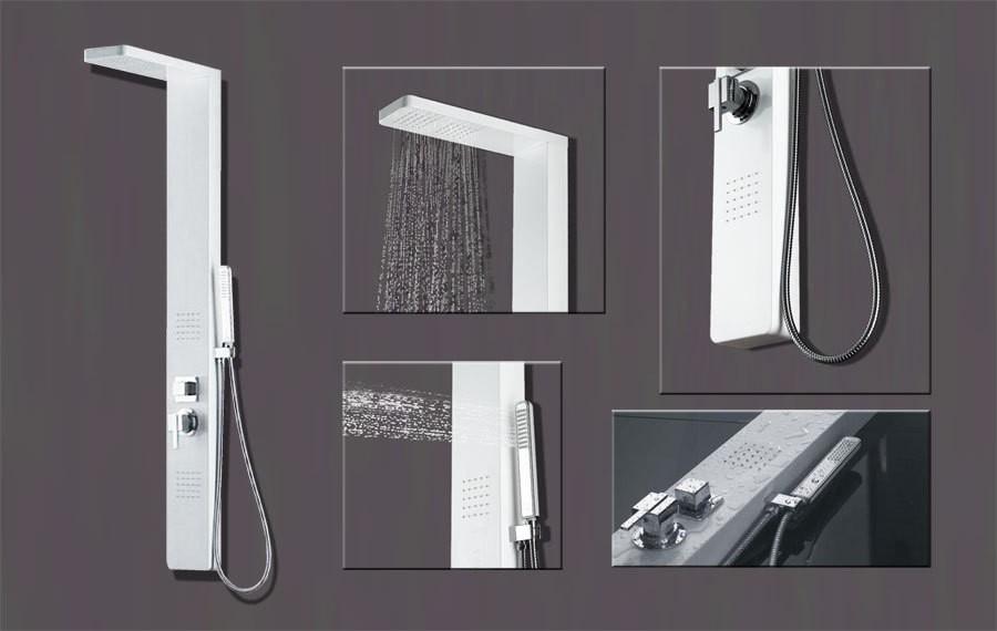 Aluminium Colonne de douche avec de la pluie douche, 2 massage jets ...