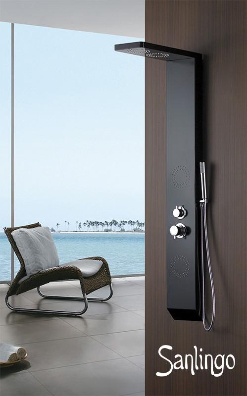 Sanlingo noir aluminium colonne de douche massage jets - Douche a jet massage ...