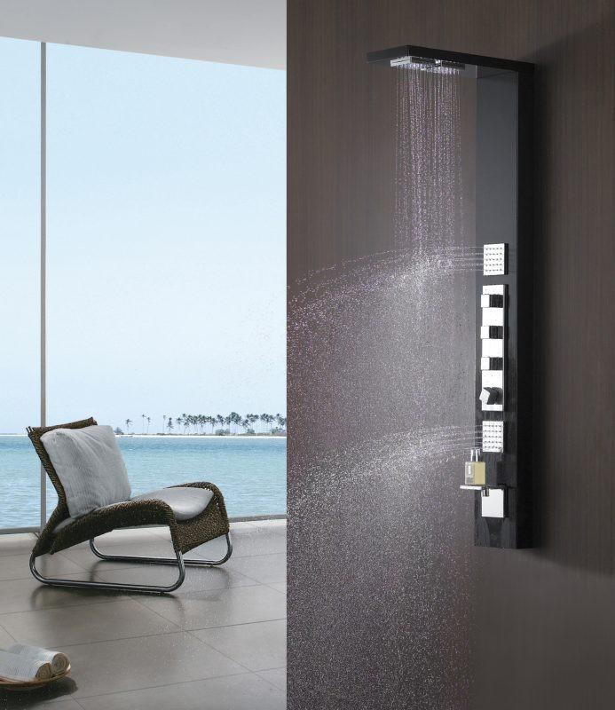 Noir aluminium colonne de douche buses massage sanlingo ebay - Colonne de douche sanlingo ...