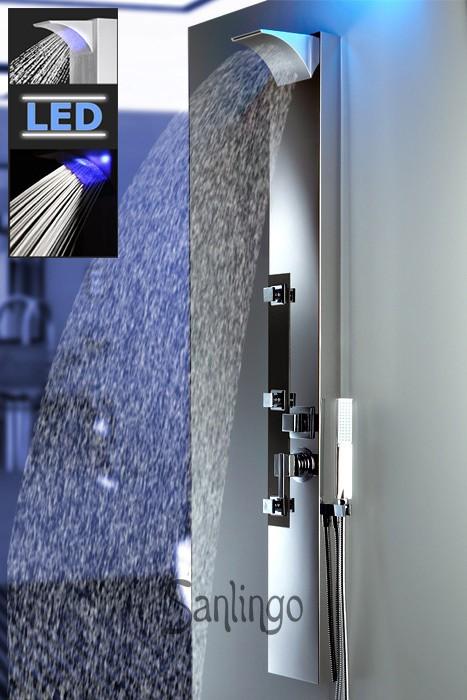 sanlingo led acier inoxydable colonne de douche de pluie cascade douchette noir ebay. Black Bedroom Furniture Sets. Home Design Ideas