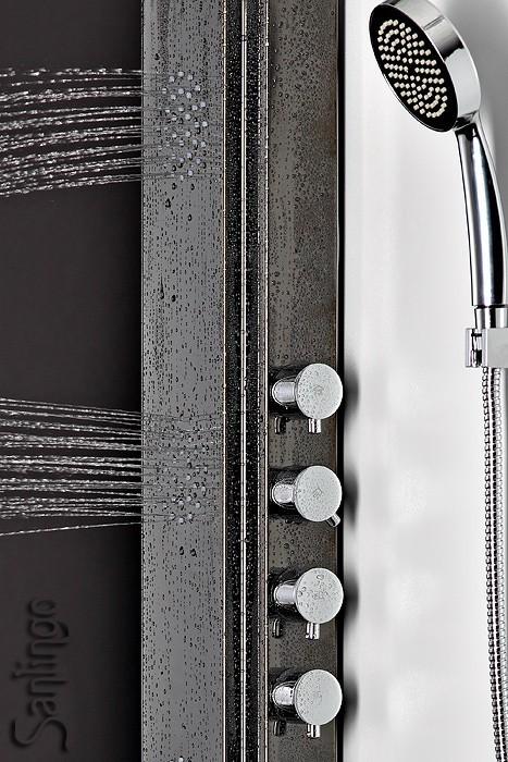 sanlingo belle colonne de douche acier inoxydable noir pommeau de douche pluie ebay. Black Bedroom Furniture Sets. Home Design Ideas