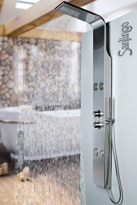 colonne de douche acier inoxydable buses de massage pommeau de douche sanlingo ebay. Black Bedroom Furniture Sets. Home Design Ideas