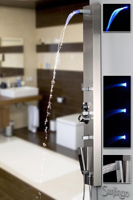 sanlingo led duschpaneel edelstahl wasserfall ebay. Black Bedroom Furniture Sets. Home Design Ideas