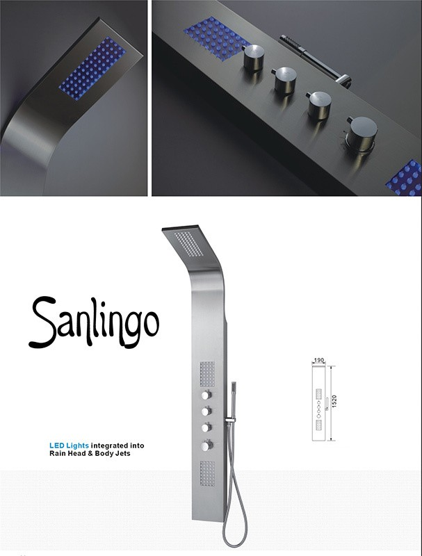 sanlingo acier inoxydable colonne de douche led massage. Black Bedroom Furniture Sets. Home Design Ideas