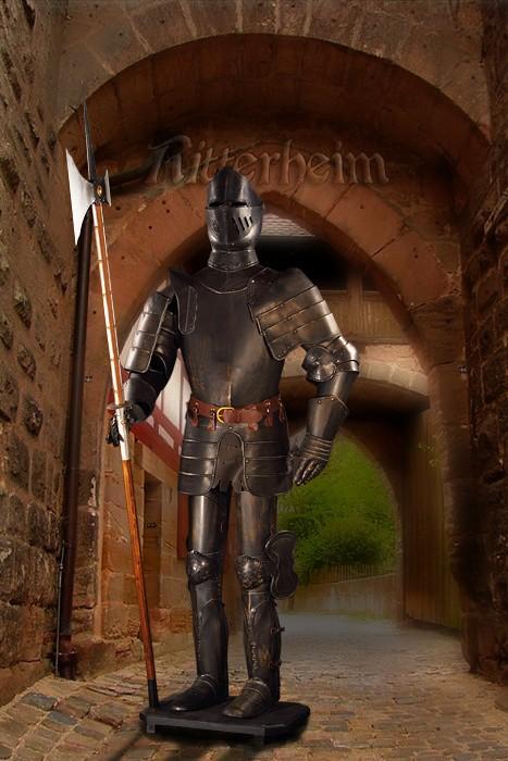 Ritter ritterr stung mit hellebarde dunkel 193cm for Dekoartikel metall