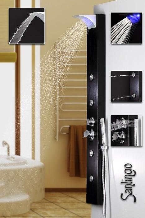 led noir aluminium colonne de douche cascade massage jets sanlingo ebay. Black Bedroom Furniture Sets. Home Design Ideas