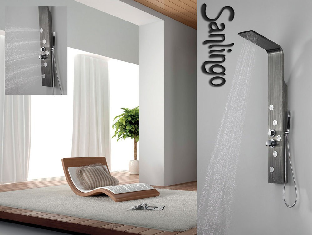 sanlingo colonne de douche acier inoxydable grain de bois. Black Bedroom Furniture Sets. Home Design Ideas