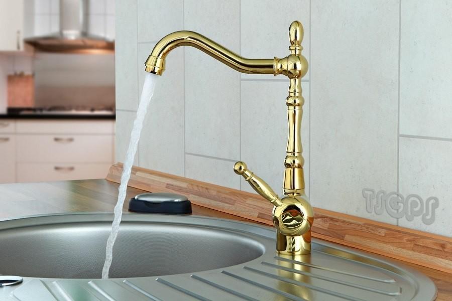 goldene nostalgie retro k chen armatur landhausstil gold ebay. Black Bedroom Furniture Sets. Home Design Ideas