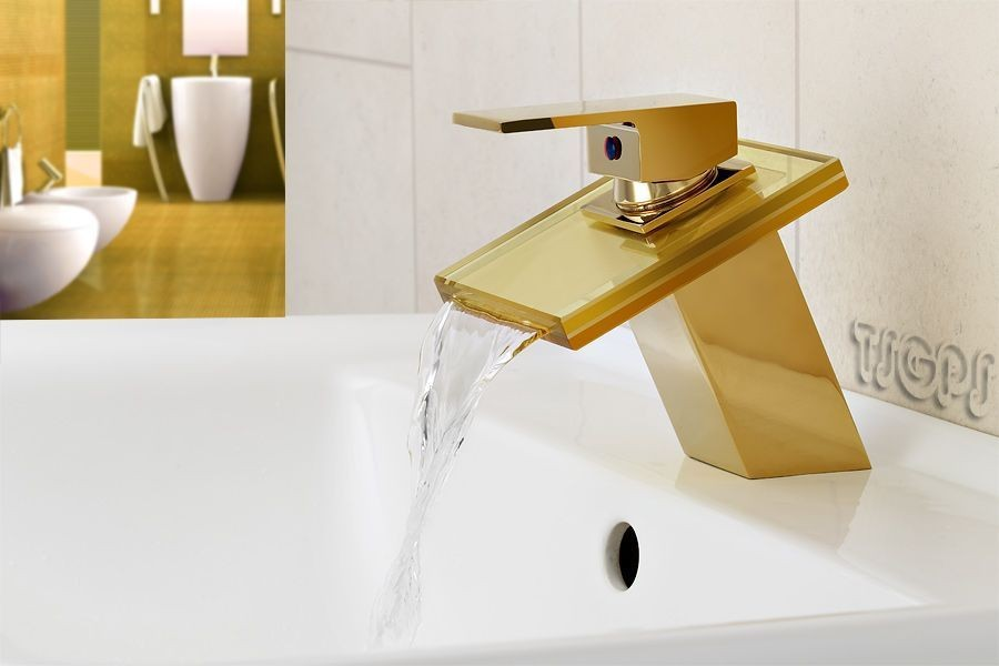 wasserfall schwall glas armatur in gold ebay. Black Bedroom Furniture Sets. Home Design Ideas