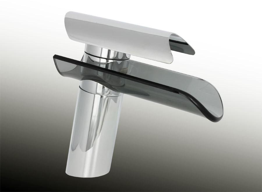 wasserfall armatur schwarzer schwall auslauf waschbecken glas schwarz serie nina ebay. Black Bedroom Furniture Sets. Home Design Ideas