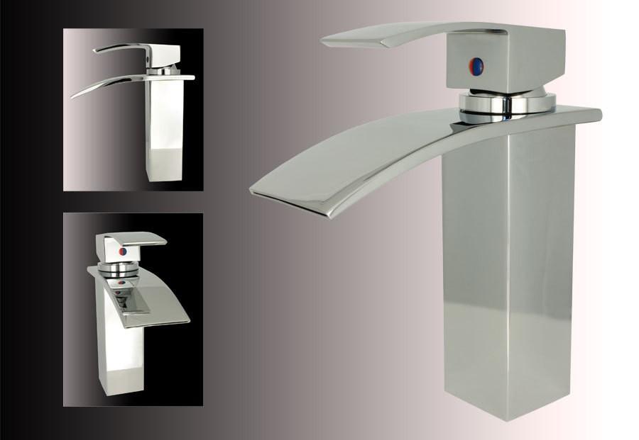 design massiv wasserfall waschbecken einhebel armatur. Black Bedroom Furniture Sets. Home Design Ideas