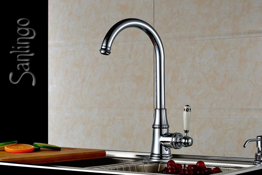 landhaus k che sp lbecken einhebel armatur keramik griff chrom sanlingo ebay. Black Bedroom Furniture Sets. Home Design Ideas