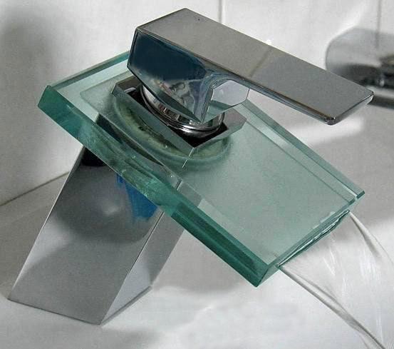 Ba o lavabo moderno grifo monomando cascada vidrio cromo - Grifos modernos bano ...