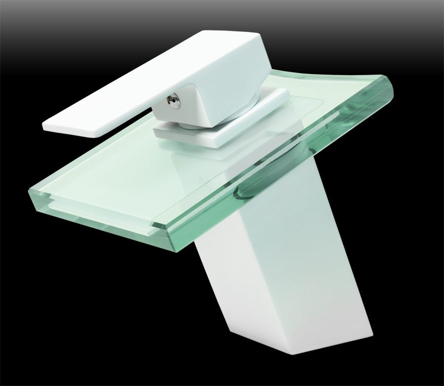 Grifo monomando ba o lavabo moderno vidrio cascada blanco ebay - Lavabo de vidrio ...