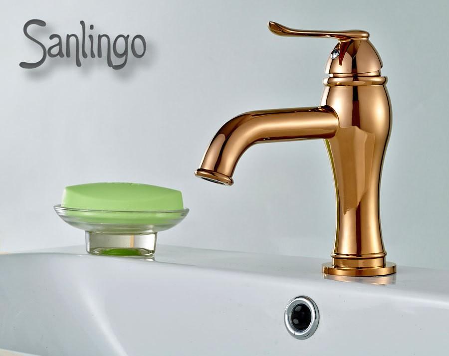 design bad waschbecken einhebel armatur mixer wasserhahn rose gold sanlingo ebay. Black Bedroom Furniture Sets. Home Design Ideas