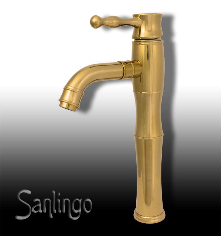 hohe retro einhebel bad badezimmer armatur waschbecken waschtisch gold sanlingo ebay. Black Bedroom Furniture Sets. Home Design Ideas