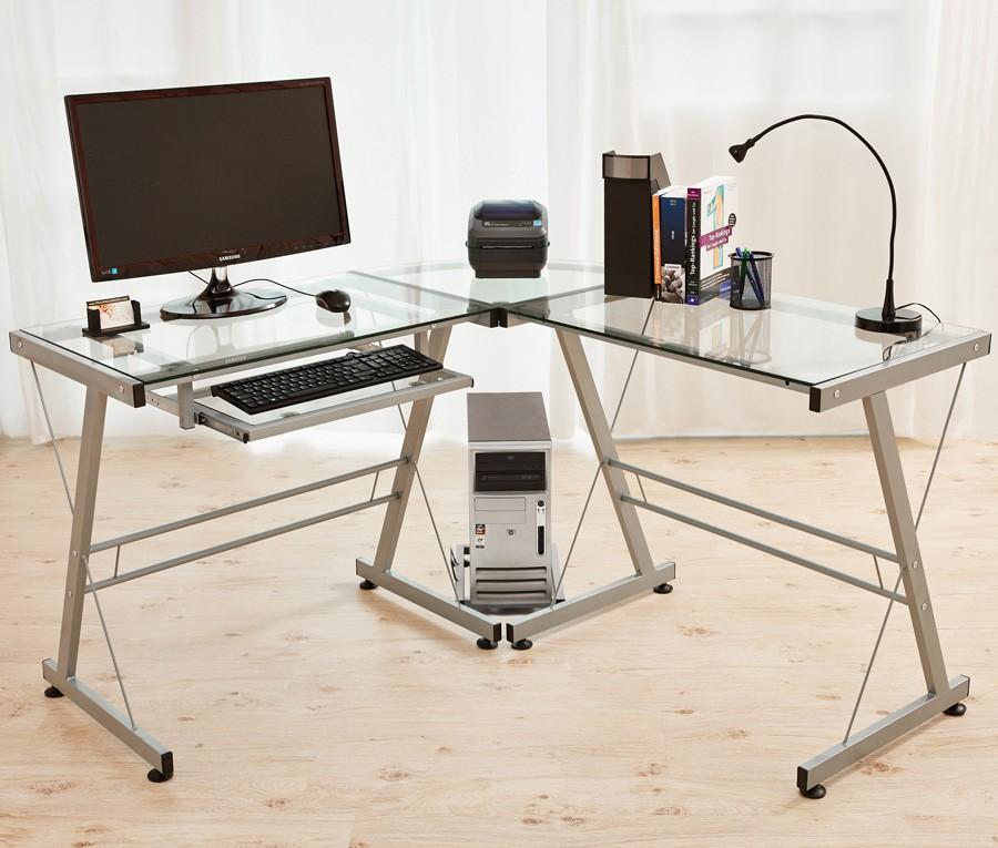 verre bureau d 39 angle informatique ordinateur table de travail argent. Black Bedroom Furniture Sets. Home Design Ideas