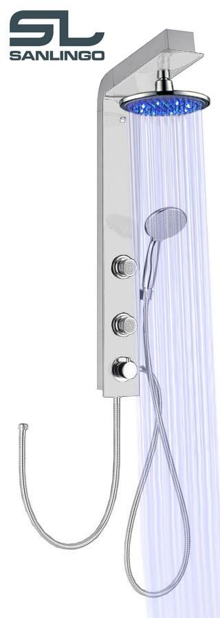 duschpaneel glas duschs ule silber wei regenschauer led massage sanlingo ebay. Black Bedroom Furniture Sets. Home Design Ideas