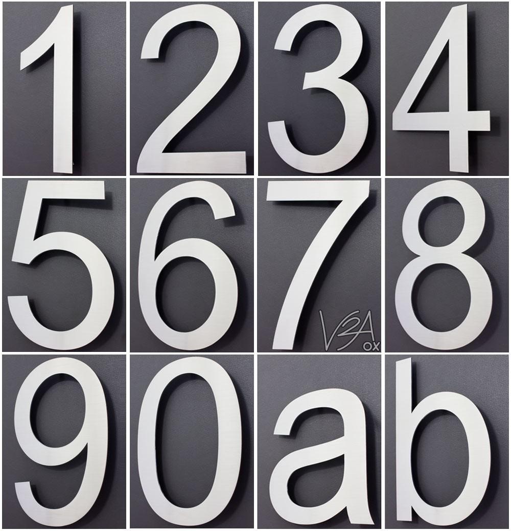 Hausnummer edelstahl design arial alle zahlen in 2d 3d for 2 by 4 design